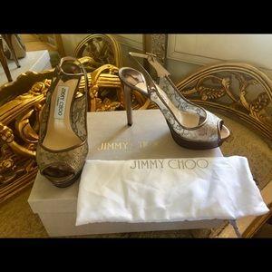 New Jimmy Choo Metallic Lace Heels 35.5 5.5 $995